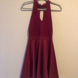 Maroon Dress with lace top and flowy skirt